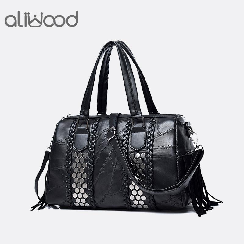 add936d5fe0 Aliwood New Genuine Leather Rivet Women s Handbags Crossbody bag for women  2018 Europe Fashion Boston Shoulder Messenger Bag Sac