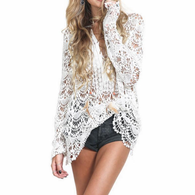 2019 Summer Lace Shirts Women Tops Long Sleeve Vintage White Blouse Sexy Hollow Crochet Blouses One Size