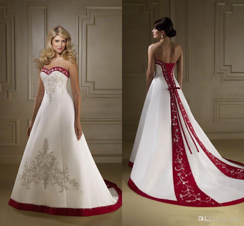 Rote und weiße Satin Stickerei Brautkleider Retro trägerlos eine Linie schnüren sich oben Hofzug Land Brautkleider vestidos Plus Size