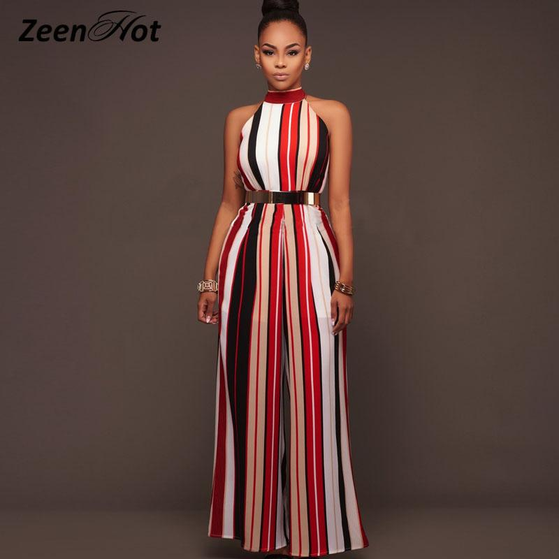 d12ab1bfc0c 2019 Women One Piece Jumpsuit Sexy Sleeveless Halter Lace Up Striped Straps  Wide Leg Siamese Pants 2017 New Summer From Yesterlike