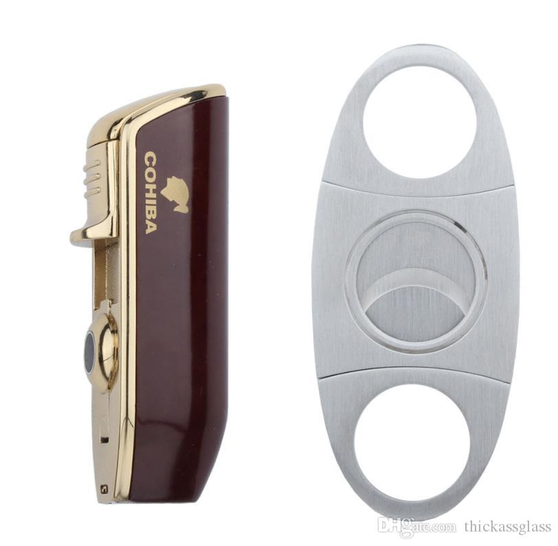 New arrival COHIBA High-end cigar set with brown lighter and stainless steel cigar cutter good christmas gift