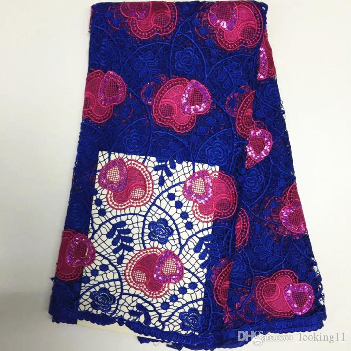 5Y/pc Beautiful royal blue african water soluble lace with fuchsia sequins heart for french cord lace fabric for dress BW165-4