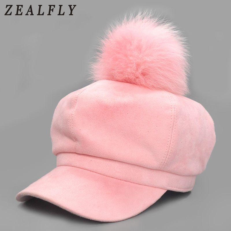 f1dd47efcb2 Solid Suede Fox Fur Ball Newsboy Caps Pink Pom Poms Winter Octagonal Hat  For Women Retro Luxury Design Cap Casual Beret Newsboy Cap Newsboy Hats for  Women ...
