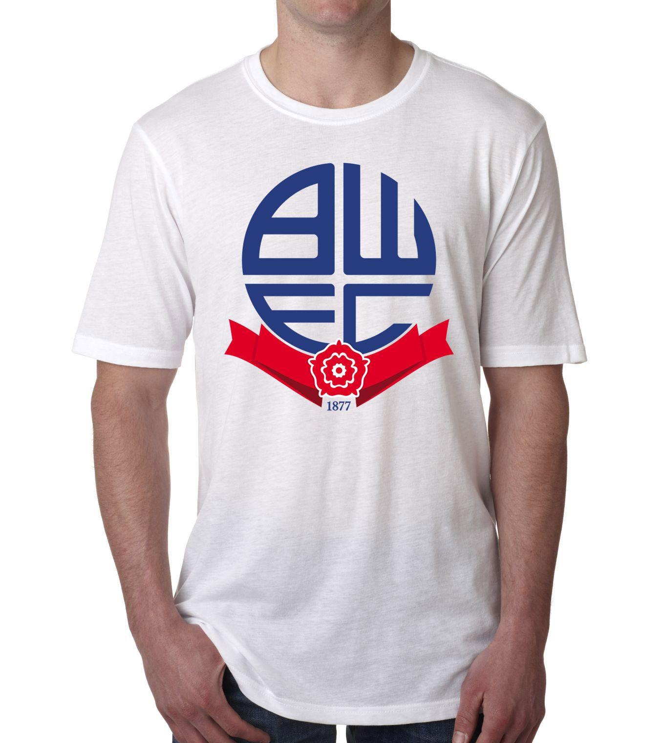BOLTON WANDERERS FC Logo Badge Crest Football Fan T Shirt 2018 Fashionable  Brand 100%cotton Printed Round Custom Printed Tshirt T Shirts T Shirts T  Tee ... 4cd928490