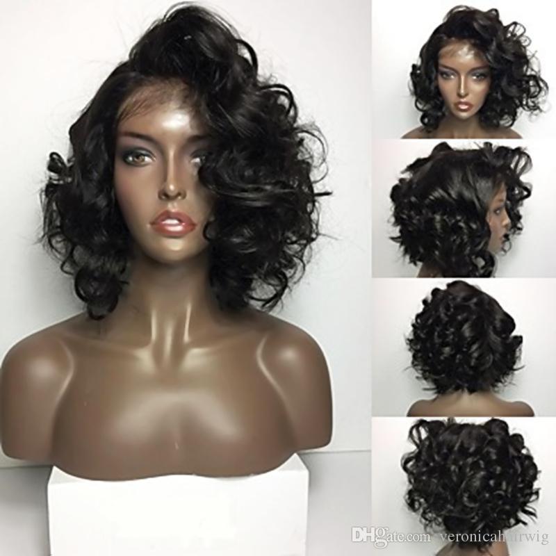 Hot Sexy Top Qualität Schwarz Kurze Bob Curly Lace Front Perücken Hitzebeständige Leimlose Synthetische Lace Front Perücken für Schwarze Frauen