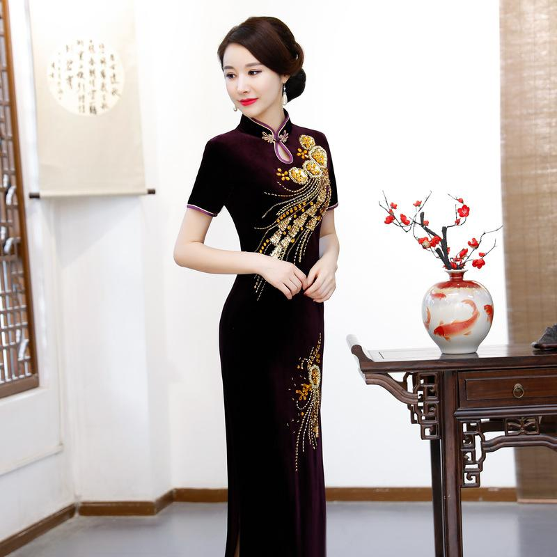 2018 New Velour Cheongsams Traditional Chinese Dress Women Autumn ... 33a2de3fb149