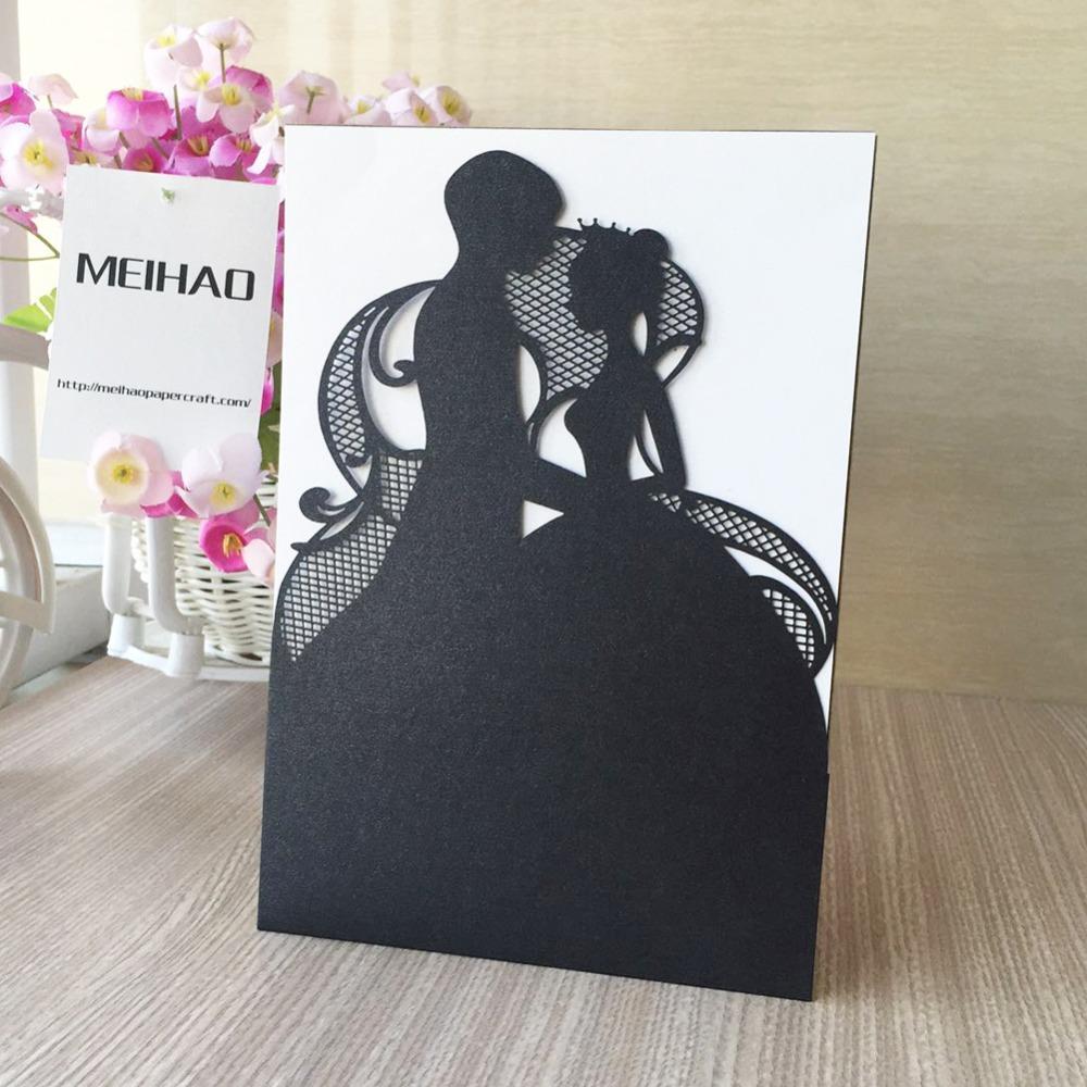 Laser Cut Pearl Paper Romantic Couple Wedding Invitations Cards