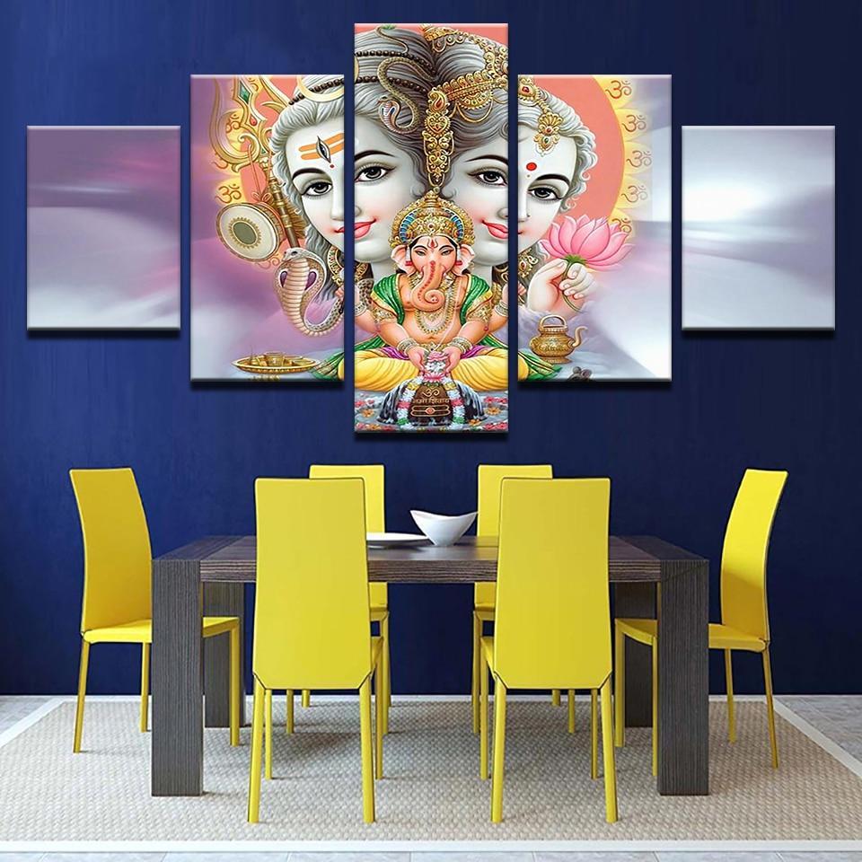 grosshandel abstrakte gemalde mahesvara poster 5 stucke leinwand indien gott shiva wandkunst bilder home decoration wohnzimmer hd printed gerahmt von
