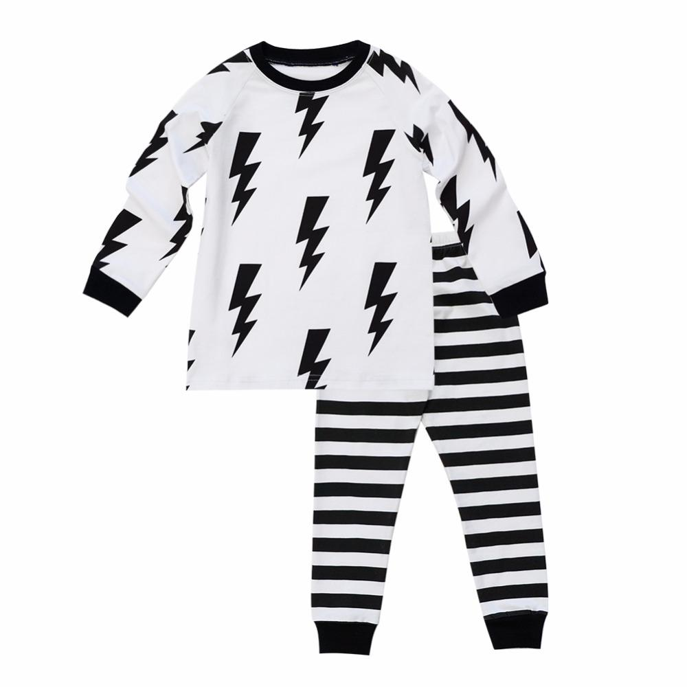 9fe1cc9198f77 Biniduckling Autumn Baby Boys Sleepwear Pajama Sets Striped Printed T  -Shirt Pants 2pcs Bebes Children S Clothing