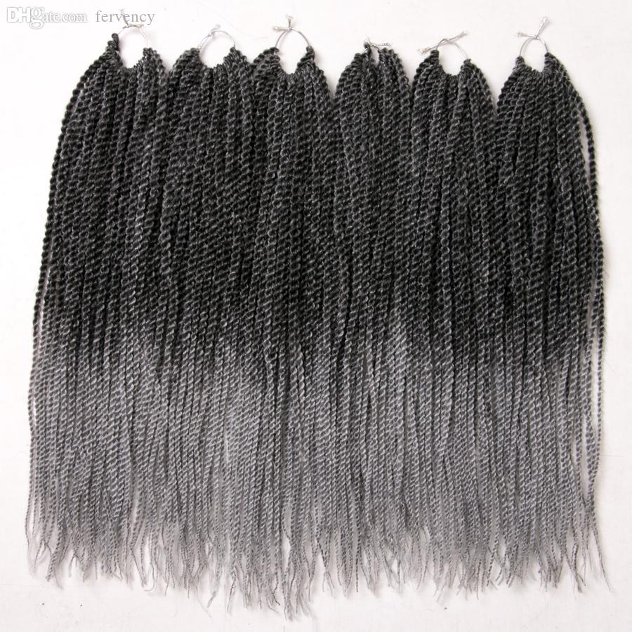 One piece Ombre Crochet Braids , 30strands/pack 18'',small Senegalese Twist Hair Synthetic Braiding Hair extensions