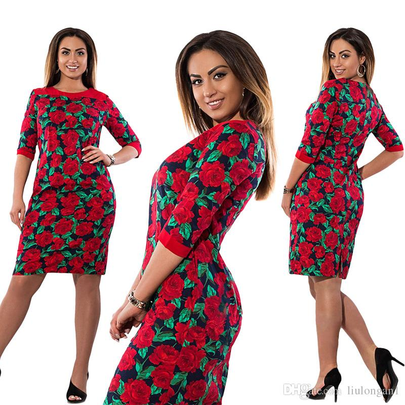 e8e6e19cfb5 Big Size 6XL Woman Dress Summer Fashion Fat MM Elegant Vintage Printing  Party Dress Plus Size Women Clothing 6xl Vesitdos Mujer Inexpensive Cocktail  Dresses ...