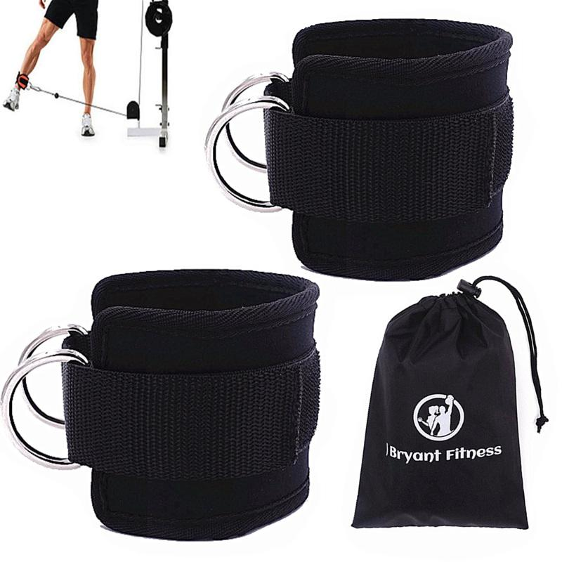 1 Pair Resistance Bands 2 Double D-Ring Ankle Straps for Cable Machines Adjustable Neoprene Premium Cuffs Home Gym Fitness