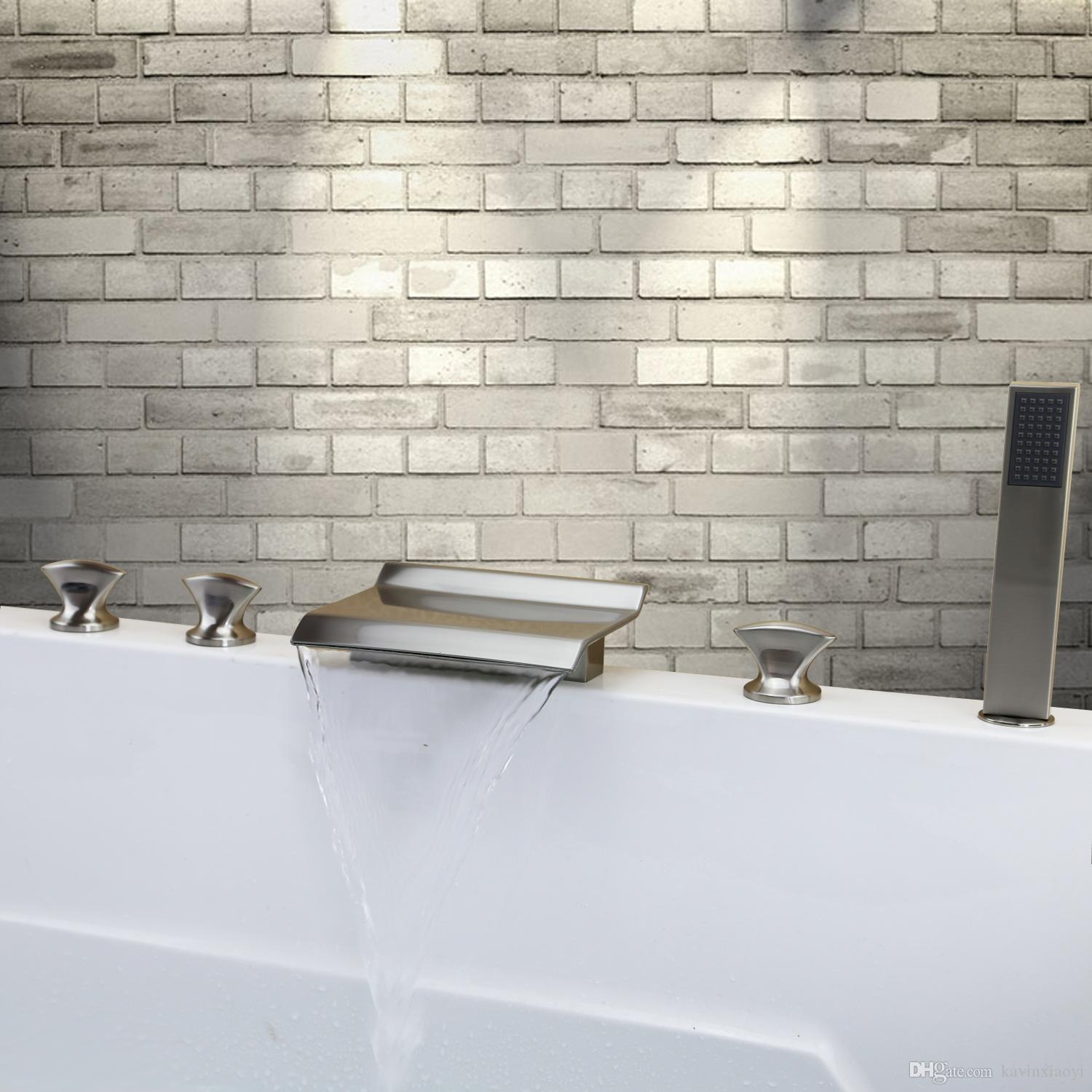Brushed Nickel Tub Shower Waterfall Spout Faucet Roman Tub Bath ...