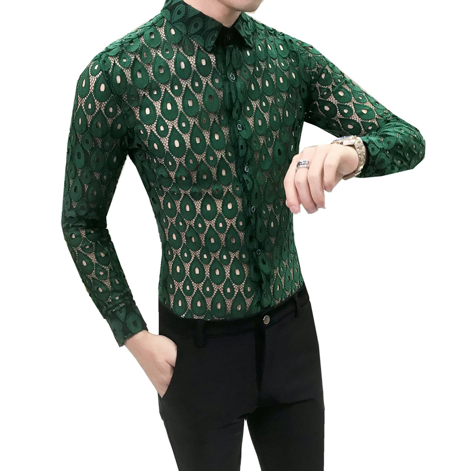 Mens Long Sleeve See Through Lace Shirts Clubwear Sexy Sheer Tops