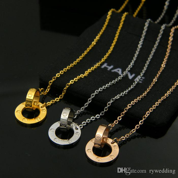 Fashion Women Nail Love Necklaces Brand 18k Rose Gold Roman