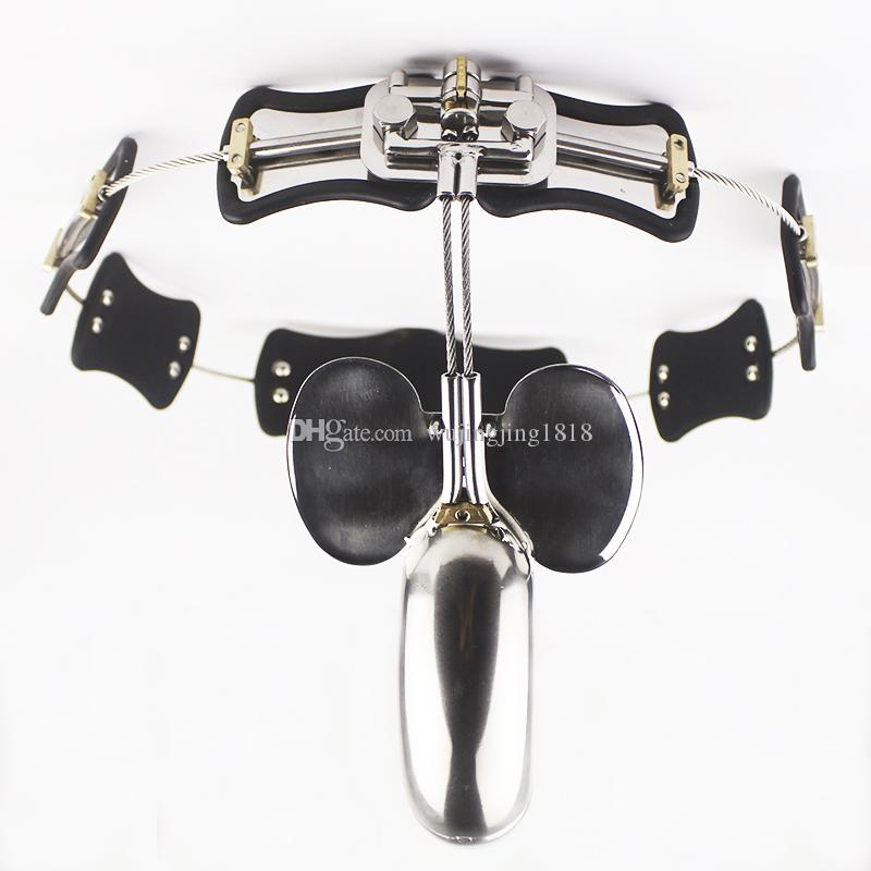 Stainless Steel Male Chastity Belt Model-T Chastity Lock Cock Cage BDSM Sex Toys For Men Gay Penis Restraint Device Adult games