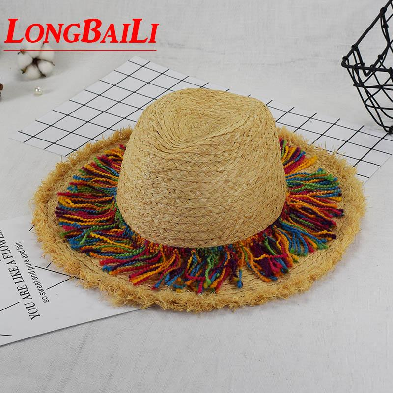 Summer 59cm Wide Brim Raffia Straw Sun Beach Hats For Women Chapeu Panama  Fedoras Sunbonnet SDDS075 Ladies Hats Floppy Hats From Wutiamou 83e96862df5
