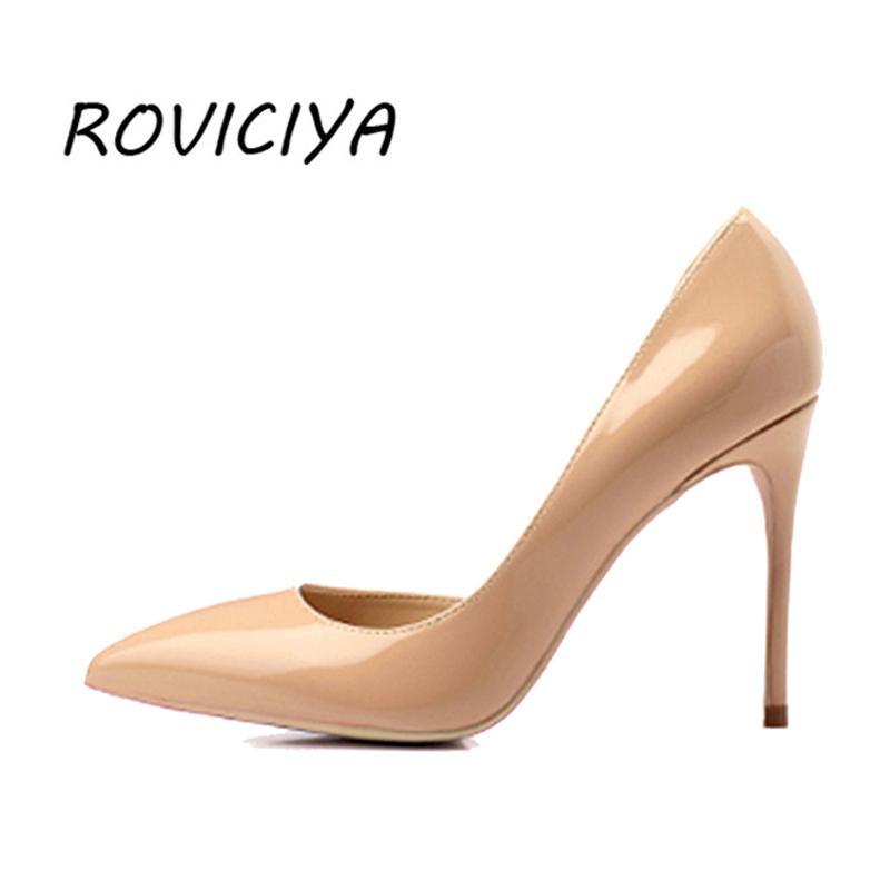 online store 07a4f 65fb7 10 cm Stiletto Pumps Frauen Schuhe sexy High Heels spitz Zehen Damen Schuhe  rosa Apricot Silber Champagner Gold QP036 ROVICIYA