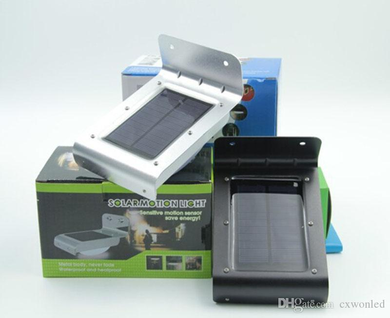PIR Solar Powered LED Wall Lamp 16 LEDs 300lm Lights Wall Light Motion Detection Aluminum Alloy Path Garden Yard light