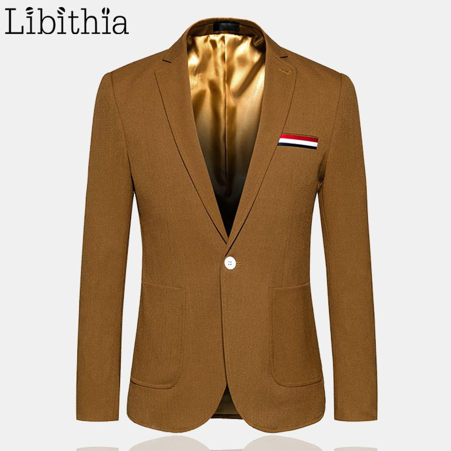98fe8cb4bbff9 Men Causal Blazers One Button High Quality Jackets Big Size 5XL 6XL ...
