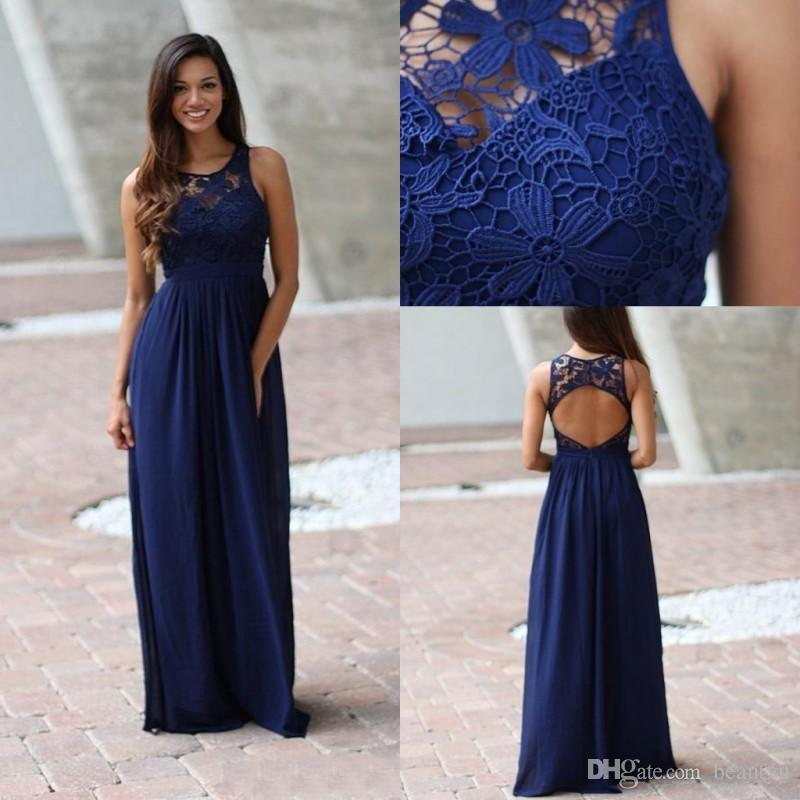 0cfaedfbd4 Royal Blue Country Bridesmaid Dresses 2018 New A Line Sheer Jewel  Sleeveless Backless Lace Top Long Chiffon Maid Of Honor Dress For Weddings  Peach ...