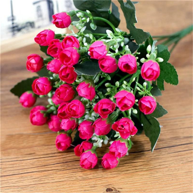 1 Bouquet 36 Cabeça Pequeno Bud Roses artificial Flores De Seda Rosa Decorativo Flores Decorações de Casa para o Casamento Dia Dos Namorados