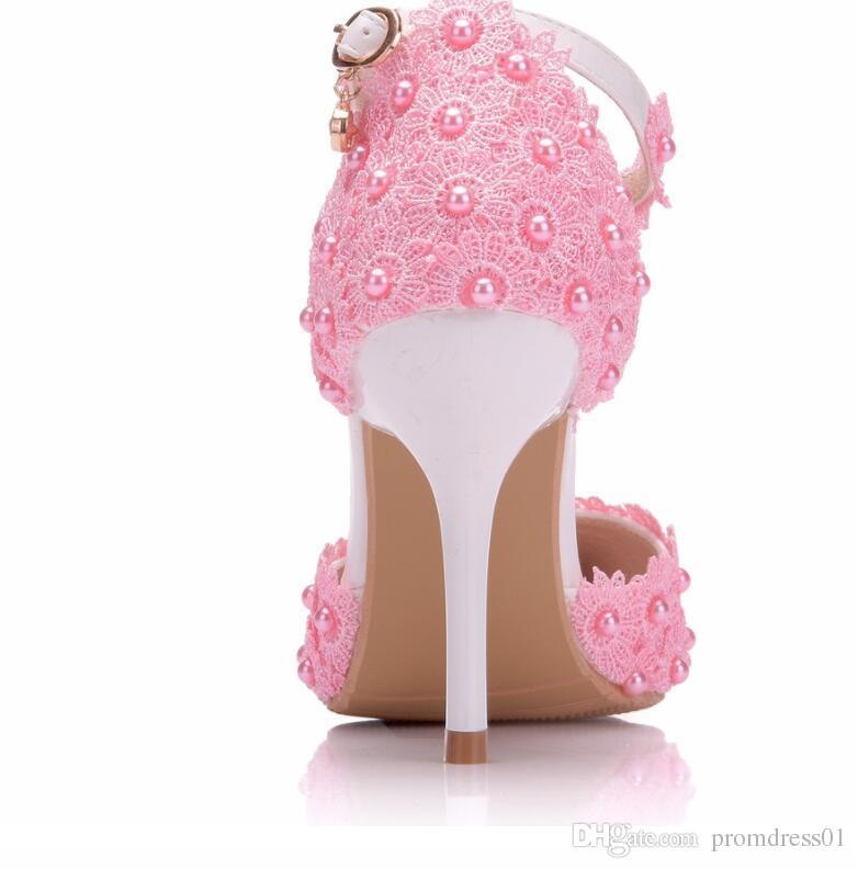Beyaz Dantel Çiçek Düğün Ayakkabı Askısı Gelin Ayakkabıları ve Gelin Ayakkabıları için Sivri Kafa