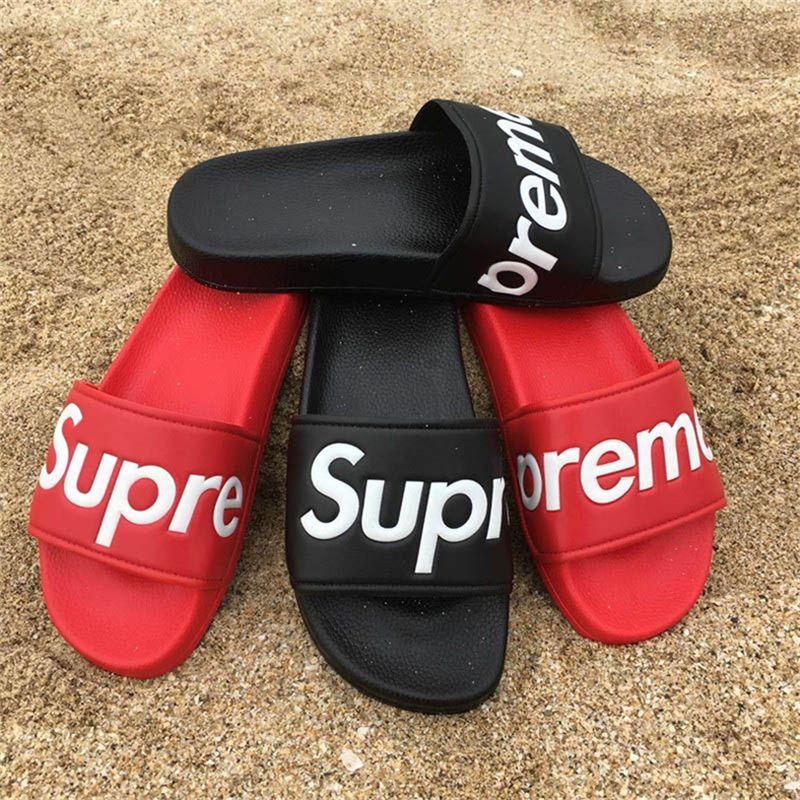 294762552498 M1Supreme Box Logo Sandals Brand Slippers Slide Harajuku Flip Flops Fashion  Designer Hip Hop Sneakers Kawaii Outdoor Indoor Sandals With Box Black  Sandals ...