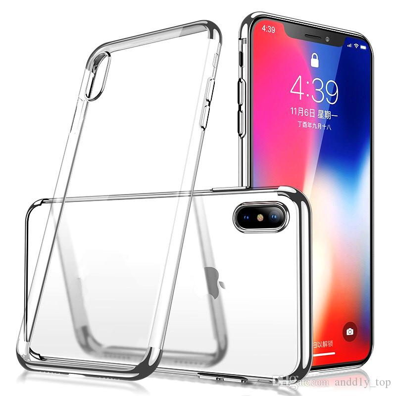 Plating Soft TPU Case For iPhone XR XS MAX 8 7 Plus Samsung Note 9 S8 S9 Anti-shock Gel Cell Phone Protector