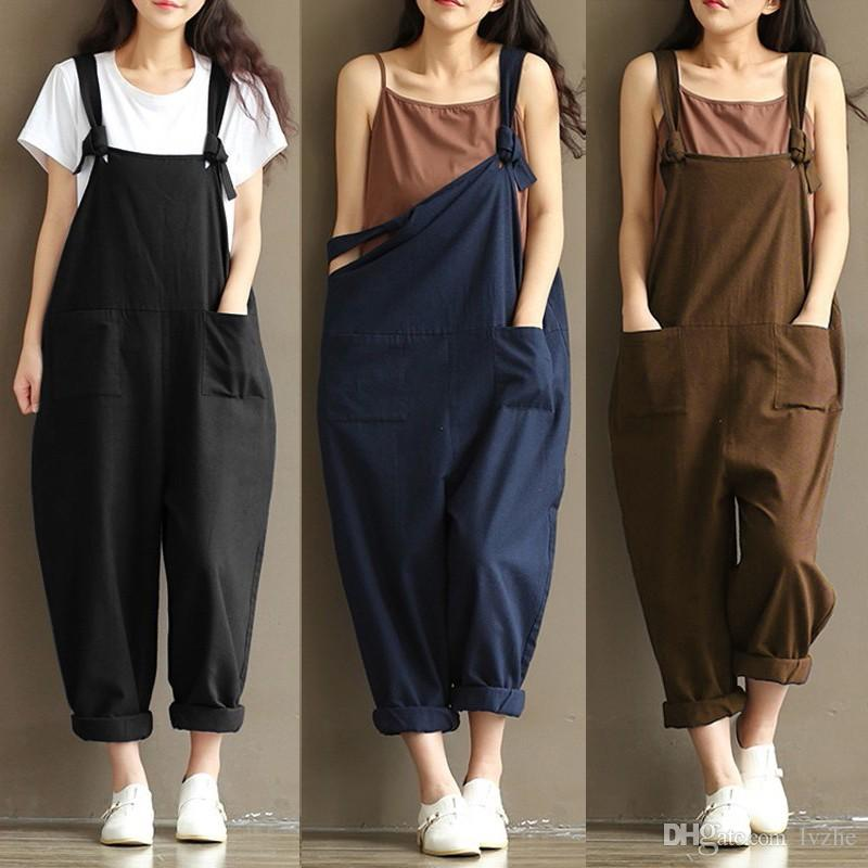 c0aa4cc0b12bb 2019 New Womens Ladies Casual Pants Cotton Linen Jumpsuit Harem Trousers Romper  Overalls 8 Size From Lvzhe