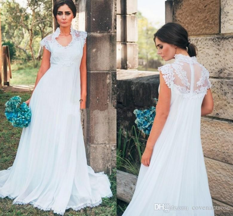 Discount Country Wedding Dresses For Pregnant Women Empire Waist Applique  Lace Floor Length Chiffon 2018 Outdoor Garden Bridal Gowns Cheap Silver  Wedding ...
