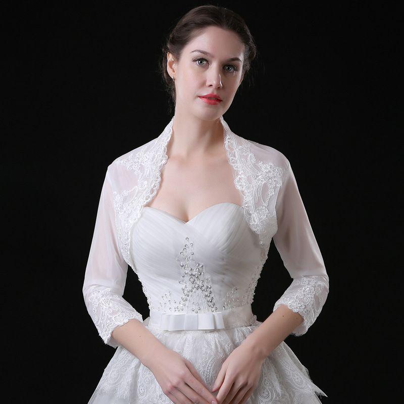 White Cheap Wedding Bridal Bolero Jacket Cap Wrap Shrug Front Open Backless Cheap Custom Made Jacket for Wedding