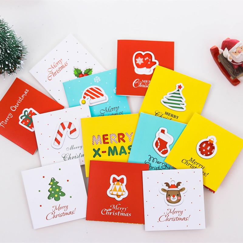 96Pcs Christmas Greeting Cards Mini Post Card With Envelope For Christmas Party Deco Supply