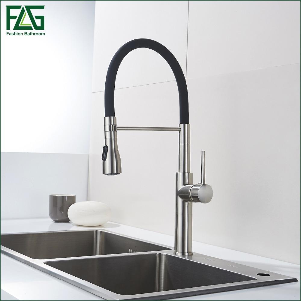 Grifo de cocina de diseño único Grifos de cocina de níquel de latón giran  360 grados de fregadero negro Torneira Parede Rubinetti 301-33N