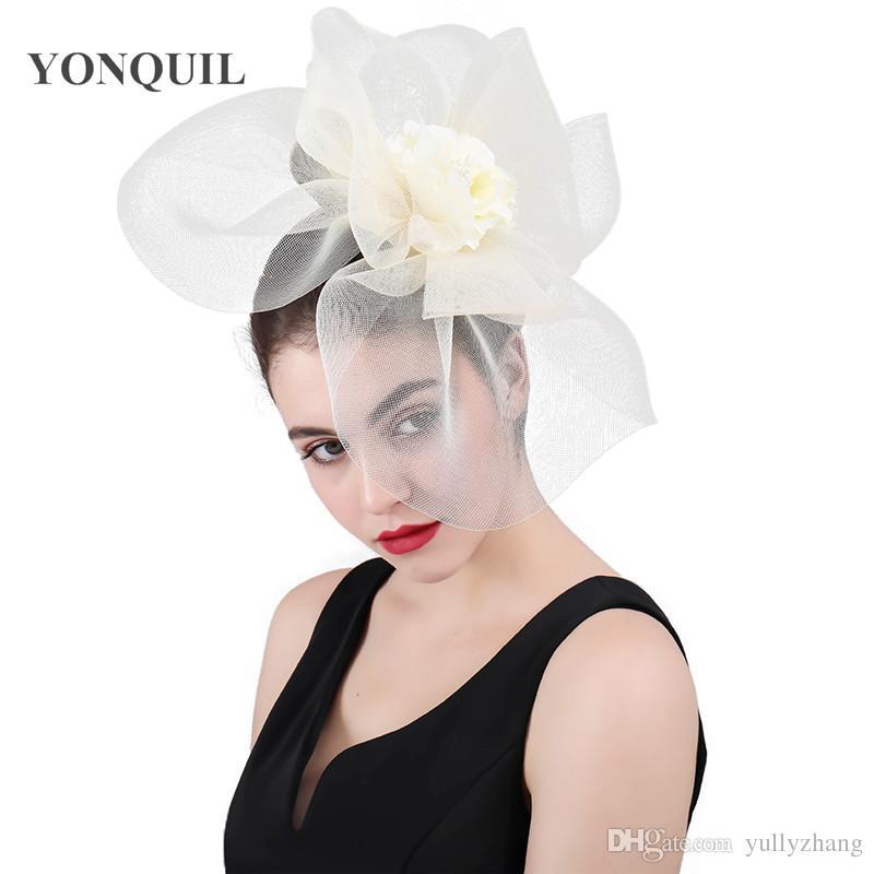 2019 Women Mesh Flower Big Fascinator Hats Wedding Kenducky Derby Ascot  Chapeau Bridal Tulle Occasion Headpiece Fashion 2018 Ladies SYF417 From  Yullyzhang 2602b0cf226