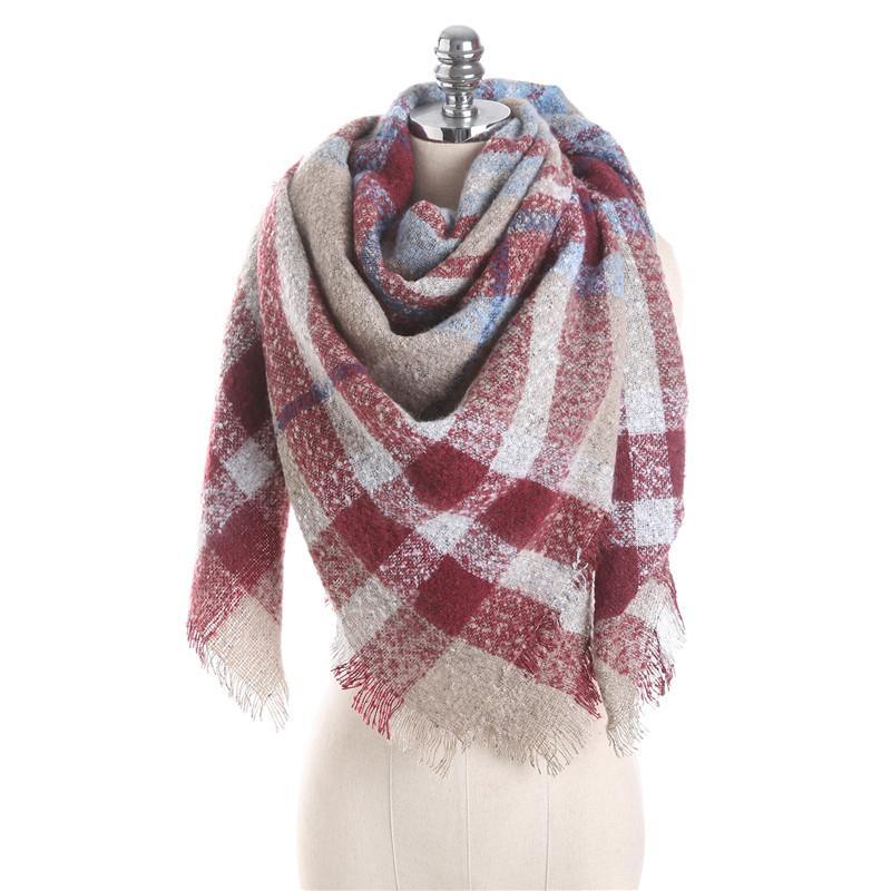 Winter Warm Scarf Women Mohair Circle Yarn Color Matching Plaid Fringed  Fleece Scarf Ladies Warm Fashion Scarves