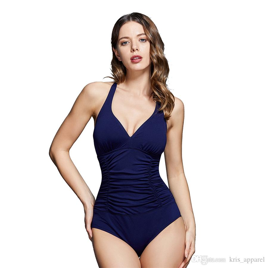 d7f34030d6a54 2018 Solid Color Women Sexy One Piece Swimsuit Bikini Backless Sport ...