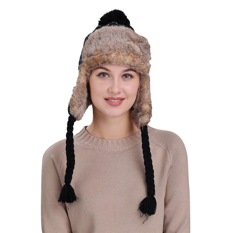 Snow Beanie Cap Hot Sale Warm Women Winter Ski Thick Knit Wool Hat With Ear Flaps  Hat Dropship 2018 ≪ 487g   UK 2019 From Duweiha 20d58512d80