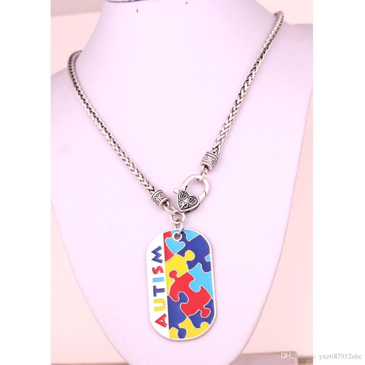 Autism Awareness Identification Necklace Military Dog Tag Style Enamel Color Puzzle Piece Pattern With Wheat Link Chain Necklaces