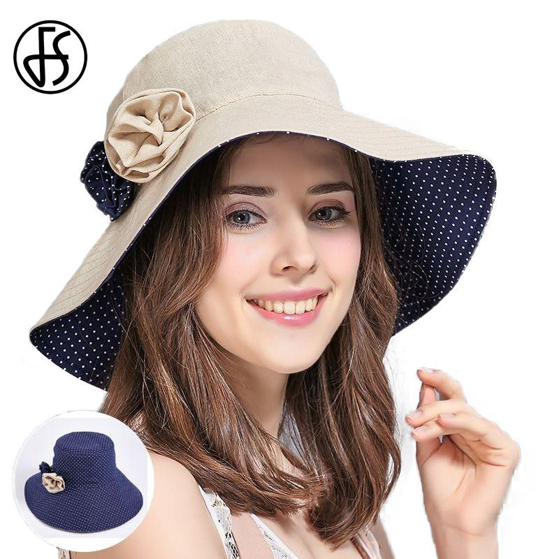 353066fc4f0 FS Summer Reversible UV Beach Hats Wide Brim Floppy Sun Hat For Women  Casual Foldable Cotton Visors Chapeu Feminino Cappello Hat World Ladies Hats  From ...