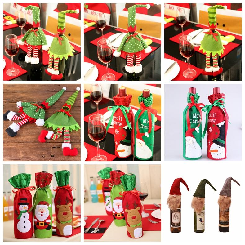 wine bottle cover christmas decoration santa claus gift reindeer snowflake elf bottle hold bag case snowman xmas home decor gga848 big outdoor christmas