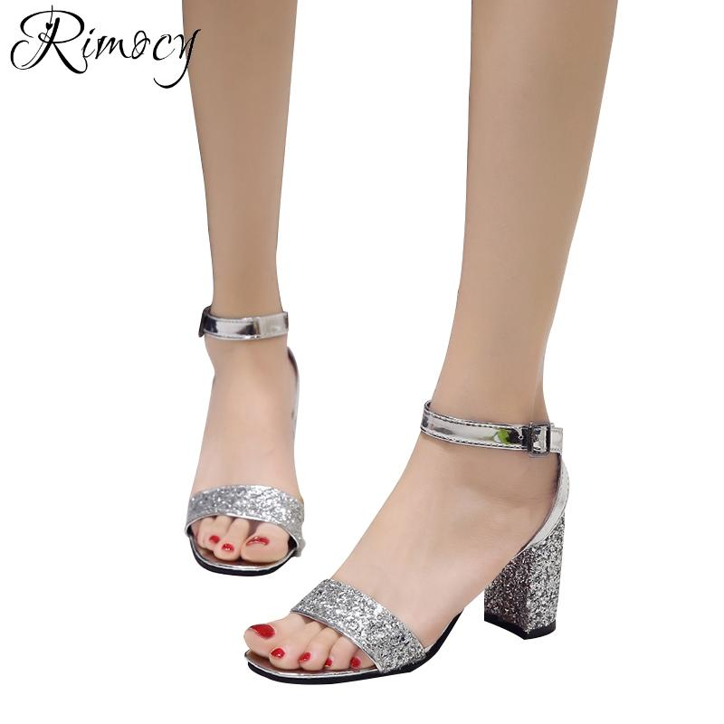 Wholesale Sexy Silver Glitter Thick High Heels Sandals Women Fashion 2018 Ankle  Strap Solid Ladies Party Wedding Pumps Shoes Woman Wedge Booties Saltwater  ... ce4ba0969b16