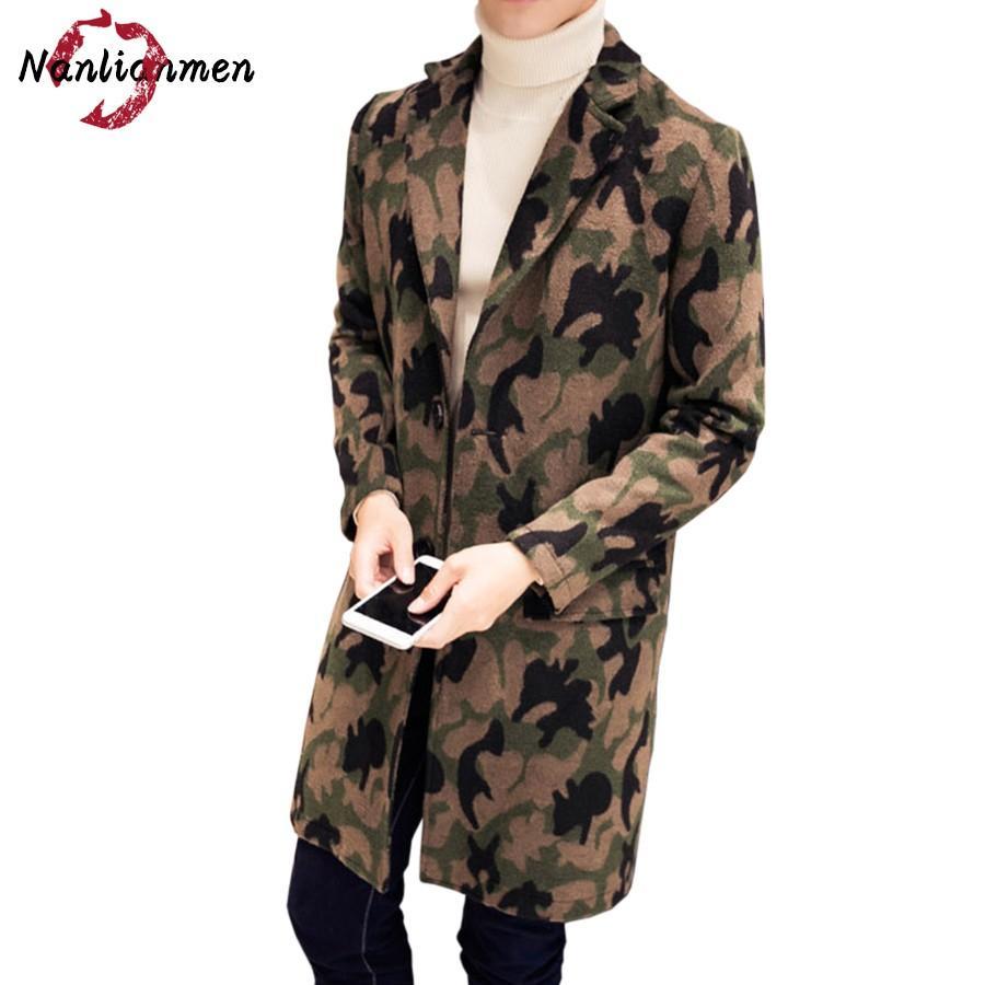 fb46b05bb80f Sobretudo Real 2017 New Camouflage Mens Long Wool Coat Abrigos Lana Para  Hombres Camo Pea Coats Male Overcoat Winter Jacket Man
