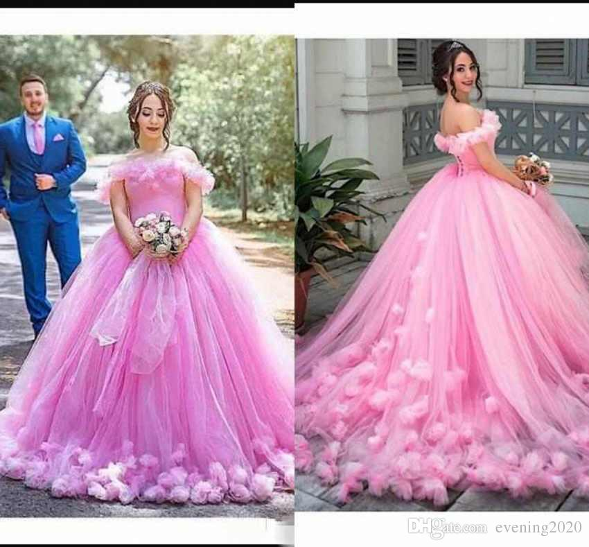 45dcd53a588 New Puffy Pink Quinceanera Dresses Princess Cinderella Formal Long Ball Gown  Bridal Weddings Dresses Sweep Train Off Shoulder 3D Flowers Dresses To Wear  To ...