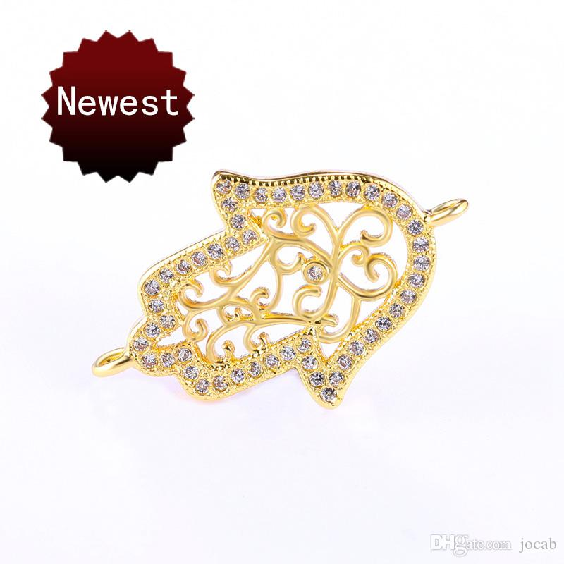 Wholesale Fashion Gold LUCKY Hamsa Hand Jewelry Accessories DIY Bracelets Necklace Earrings Charms Connectors For Jewelry Making Findings