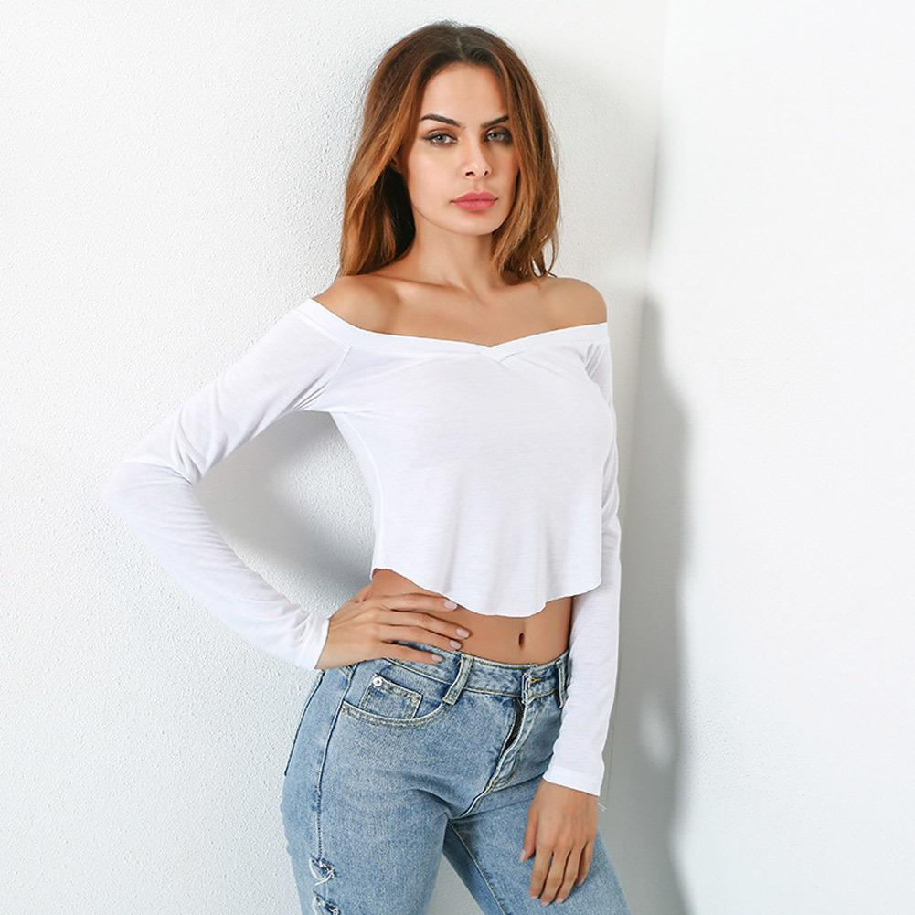 31a662ddbed48a Sexy Women Off Shoulder Crop Top Long Sleeve Basic T Shirt Casual Solid  Slim Cropped Top White Ladies Autumn Fashion Clothing Rude T Shirts Shirt  Online ...
