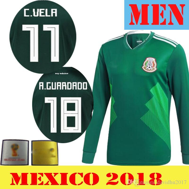 JERSEYS DE FÚTBOL MÉXICO 2018 Manga Larga Mexicano CHICHARITO CHUCKY LOZANO  DOS SANTOS HERRERA LAYUN México Camiseta De Fútbol Camisetas De Futbobo Por  ... 7eaf947d1d9