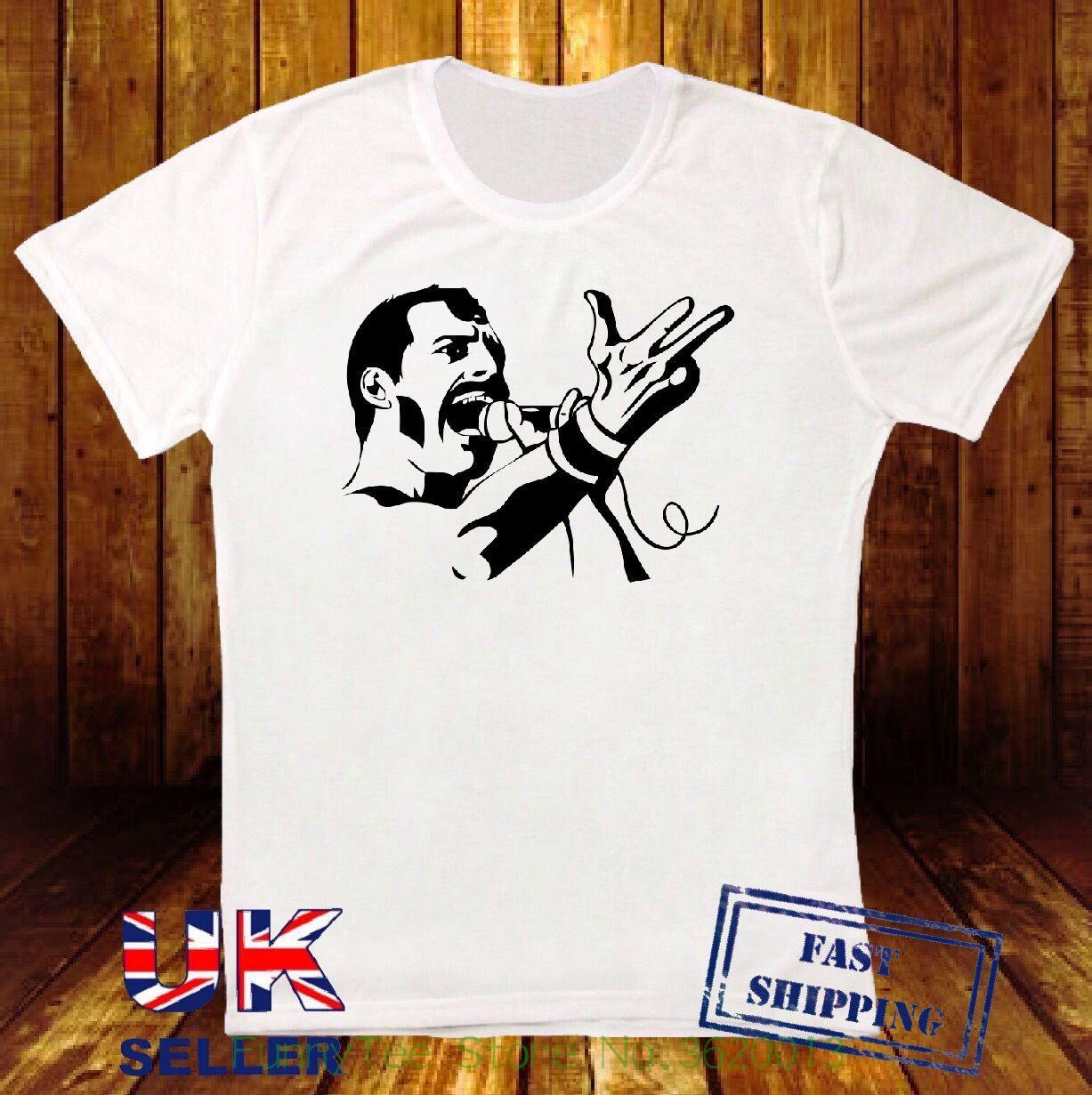 24ab1b5e0836 Freddy Mercury Queen Singing Rock Star British Illustration White T Shirt  573 T Shirt S Tees Shirts From Funnyteestore