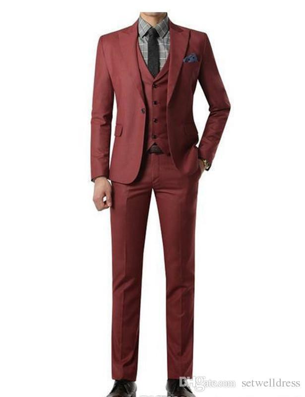 2018 Burgundy Suit Custom Made Wedding Suits Mens Tuxedos Grooms Shawl Black Lapel Prom Party Suit  jacket+Pants+vest