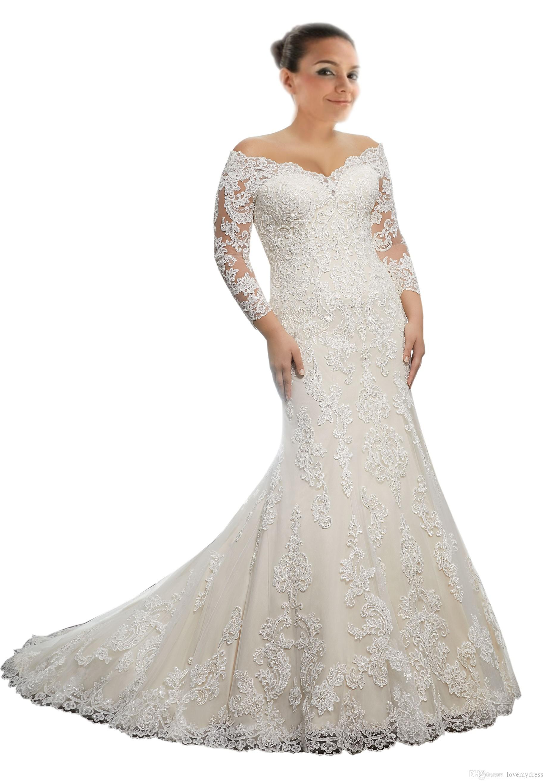 2018 Modest Off the shoulder Wedding Dress Plus size Mermaid Illusion Long Sleeves Lace Applique Corset Back Designer Cheap Wedding Gowns